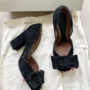 MARNI Suede Large Bow Pumps
